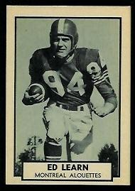 Ed Learn 1962 Topps CFL football card