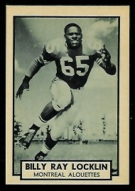 Billy Ray Locklin 1962 Topps CFL football card