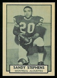 Sandy Stephens 1962 Topps CFL football card