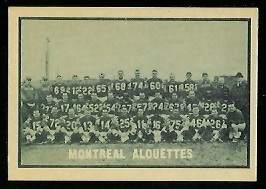 Montreal Alouettes Team 1962 Topps CFL football card