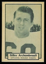 Gilles Archambault 1962 Topps CFL football card