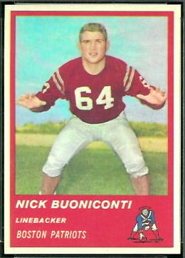 Nick Buoniconti 1963 Fleer football card