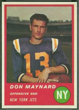 Don Maynard 1963 Fleer football card