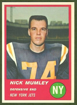 Nick Mumley 1963 Fleer football card