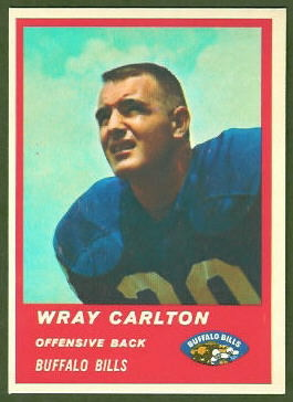 Wray Carlton 1963 Fleer football card