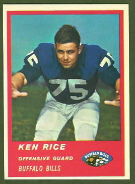Ken Rice 1963 Fleer football card