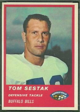 Tom Sestak 1963 Fleer football card