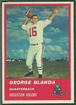 George Blanda 1963 Fleer football card