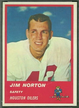 Jim Norton 1963 Fleer football card