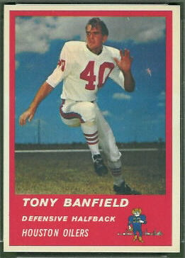 Tony Banfield 1963 Fleer football card
