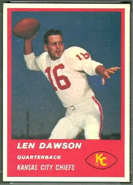 Len Dawson 1963 Fleer football card