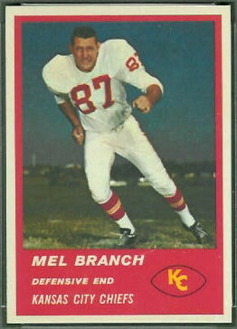Mel Branch 1963 Fleer football card