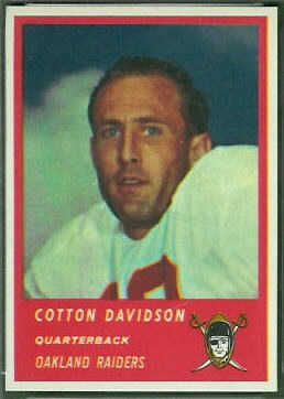 Cotton Davidson 1963 Fleer football card