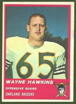 Wayne Hawkins 1963 Fleer football card