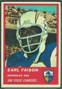 Earl Faison 1963 Fleer football card