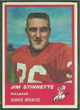 Jim Stinnette 1963 Fleer football card