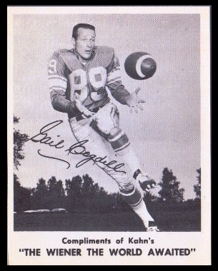 Gail Cogdill 1963 Kahns football card