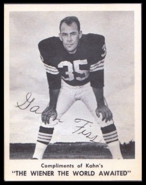 Galen Fiss 1963 Kahns football card