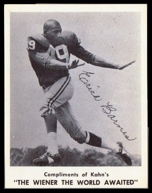 Erich Barnes 1963 Kahns football card