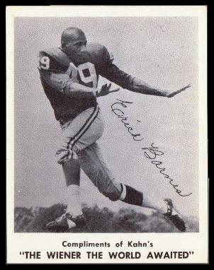 Erich Barnes 1963 Kahns football card