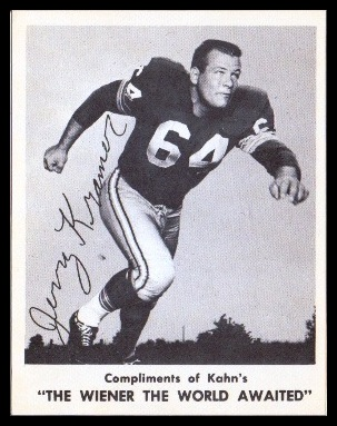 Jerry Kramer 1963 Kahns football card