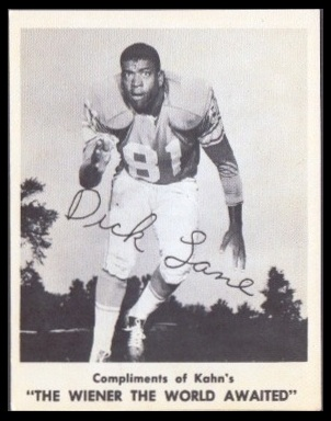 Dick Lane 1963 Kahns football card