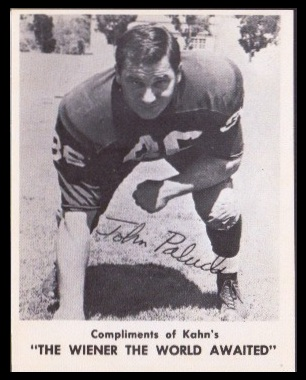 John Paluck 1963 Kahns football card
