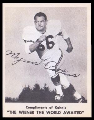Myron Pottios 1963 Kahns football card