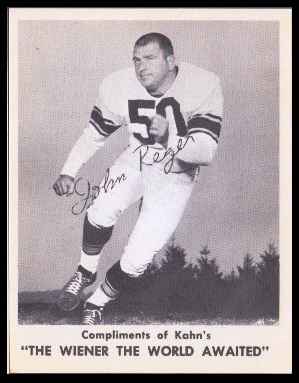 John Reger 1963 Kahns football card