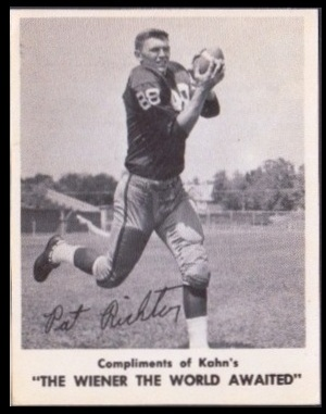 Pat Richter 1963 Kahns football card