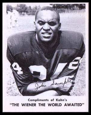 John Sample 1963 Kahns football card