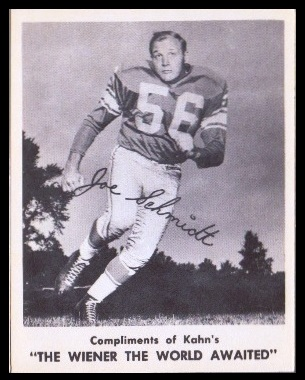 Joe Schmidt 1963 Kahns football card