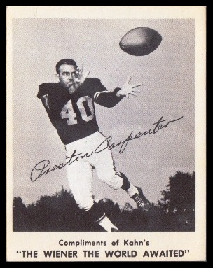 Preston Carpenter 1963 Kahns football card