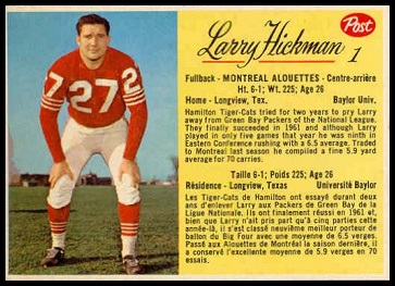 Larry Hickman 1963 Post CFL football card