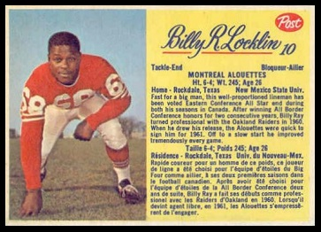 Billy Ray Locklin 1963 Post CFL football card