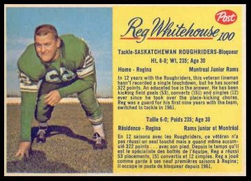 Reg Whitehouse 1963 Post CFL football card