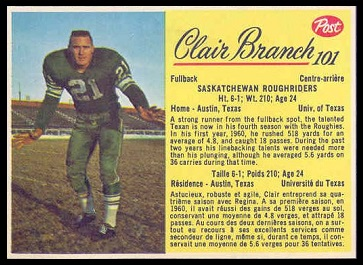 Clair Branch 1963 Post CFL football card