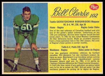 Bill Clarke 1963 Post CFL football card