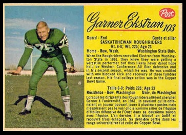 Garner Ekstran 1963 Post CFL football card