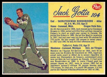 Jack Gotta 1963 Post CFL football card
