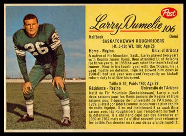 Larry Dumelie 1963 Post CFL football card
