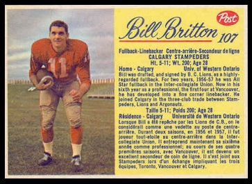 Bill Britton 1963 Post CFL football card
