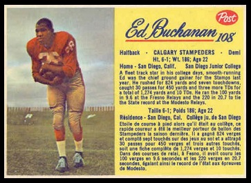 Ed Buchanan 1963 Post CFL football card