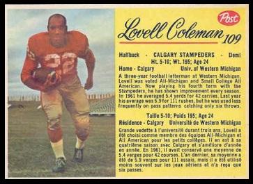 Lovell Coleman 1963 Post CFL football card