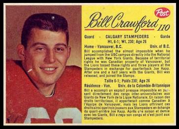 Bill Crawford 1963 Post CFL football card