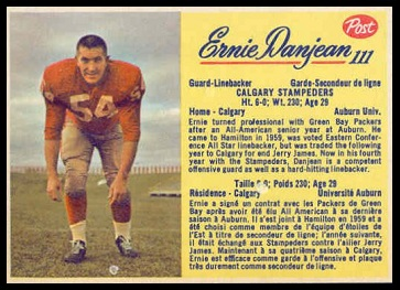 Ernie Danjean 1963 Post CFL football card