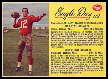 Eagle Day 1963 Post CFL football card