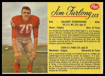 Jim Furlong 1963 Post CFL football card