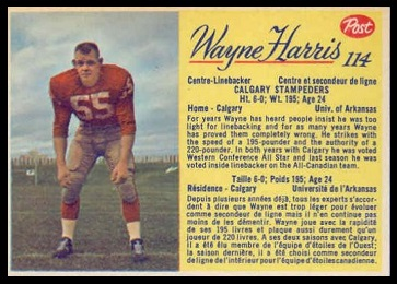 Wayne Harris 1963 Post CFL football card