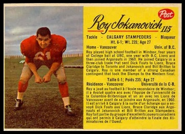 Roy Jokanovich 1963 Post CFL football card